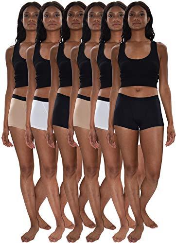 Sexy Basics Women's 6 & 12 Pack Modern Active Boy Short Boxer Brief Panties (6 Pack- Black/White/Khaki Nude, 3XL)