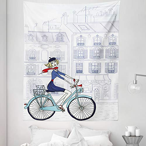 """Lunarable Paris Tapestry Twin Size, Woman Riding a Bicycle in City a Cat European French Style Illustration, Wall Hanging Bedspread Bed Cover Wall Decor, 68"""" X 88"""", White Blue"""