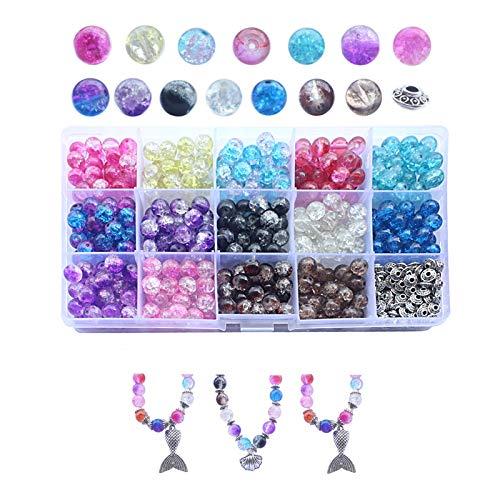 Geoyien Cuentas de vidrio redondas de 8 mm, cuentas sueltas para manualidades cuentas de cristal cuentas de joyería de colores con caja de almacenamiento para hacer joyas de bricolaje, (400 piezas)