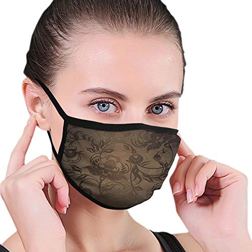 Comfortable Windproof mask,Victorian,Floral Paisley Ivy Design Leaves with Abstract Details Print,Seal Brown,Printed Facial decorations for Women and Men