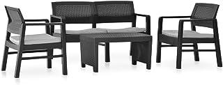 Tidyard Set de Muebles Jardín 3 pzas y Cojines Sofá y Mesa de Terraza Piscina Porche Jardín Balcón Plástico Gris Antracita