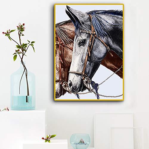 WSNDGWS Moderne Minimalistische Retro Persoonlijkheid Paard Hoofd Decoratie Schilderij Woonkamer Studie Porch Opknoping Beeld Geen Beeld Frame 30x40cm C2