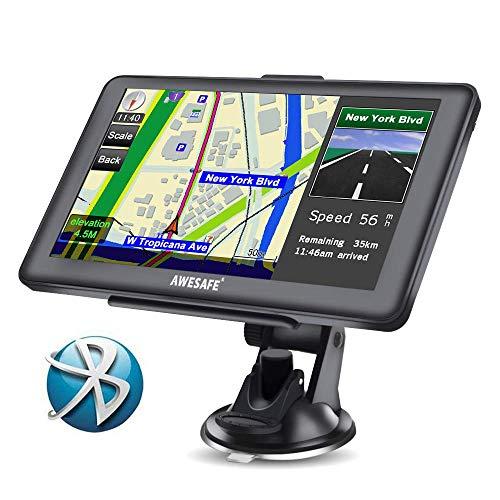 AWESAFE GPS para Coche de 7 Pulgadas Pantalla con Bluetooth