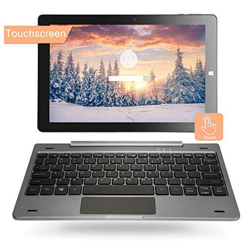10.1'' Windows 10 Home Tablet PC 2-in-1 Touchscreen Mini Laptop mit Abnehmbarer Tastatur(Intel Quad Core,4GB RAM 64GB ROM Verbindung WLAN ,Bluetooth, IPS Display ,HDMI, USB, Dual Kamera (QWERY)