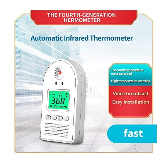 Wall-Mounted Thermometer for Adults, Non Contact Thermometer, in Door Body Digital Thermometer Hand Free Forehead Thermometer for Offices, Factories, Shops, Schools, Restaurants 5 EASY TO USE: The forehead thermometer accurately measures a person?s body temperature in as little as one second. A reading is taken as soon as an individual?s forehead is detected within 2-4 inches of the thermometer?s sensor. A green light will indicate that their temperature is within a normal range, and a flashing red light. NON-CONTACT HAND FREE MEASURING:: Using a new chip, the induction time is faster, the induction time is 0.1 s; the temperature measurement accuracy is high, and the accuracy tolerance is ±0.18°F. The test temperature passing rate per minute is greatly improved. Can detect 50 people in 1 minute at the fastest. EASY INSTALLATION: Our Wall Mounted Infrared Thermometer is very easy to mount on the wall using nails, hooks, double-sided adhesive tape, or brackets, and can be connected to a wall charger, power bank, or any other portable power source.