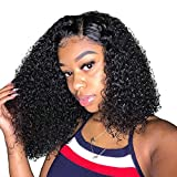 ALI GRACE Wet And Wavy Bob Lace Front Wigs Short Human Hair Kinky Hair 13x4 150% Density Pre Plucked With Baby Hair Natural Hairline Brazilian Virgin 9A Hair For Black Women 10inch