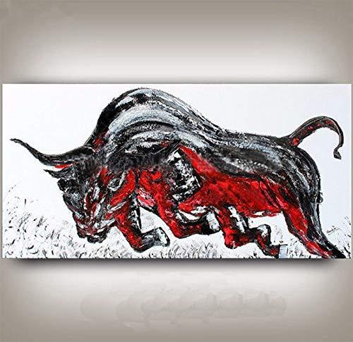 GWFVA rood mes grijs vechten stier foto's decoratie muur kunst grote geschilderde handgemaakte dierlijke olie op canvas