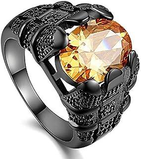 خاتم للرجال روديوم أسود مطلي بحجر كريم توباز (سوليتير S-Z) مقاس أمريكي 11