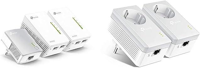 TP-Link TL-WPA4220 TKIT - Amplificador WiFi Repetidores de Red, Adaptadores Internet por Línea Eléctrica PLC AV600+AC300, 5 Puertos, Cable Ethernet (Pack de 3) + TL-PA4010PKIT -PLC 2 Mini Adaptadores