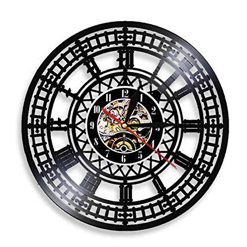 mbbvv Reloj de Pared con Disco de Vinilo Vintage Big Ben Que no Hace tictac London Westminster Reloj de Pared lámpara de Pared para Regalo de Viajero de Londres