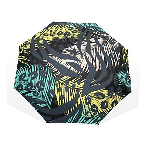 Jeansame - Paraguas de palmeras tropicales, diseño de lunares, plegable, manual para...
