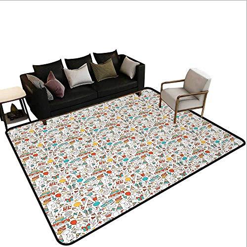 MsShe Zwembad anti-slip tapijt Verjaardag, Mooie Jonge Vrouw en Verjaardag Taart Tafel vol Presents Vlinder Figuur, Multi kleuren