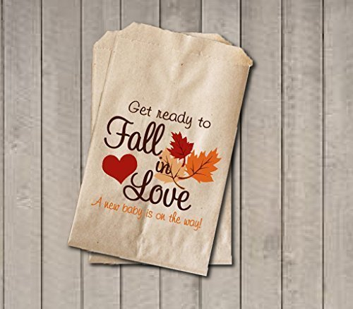 "Fall Baby Shower Candy Bags - Fall in Love Baby Shower Favor Bags - 6.25"" x 9.25"" - Fall Colors (20 pack)"