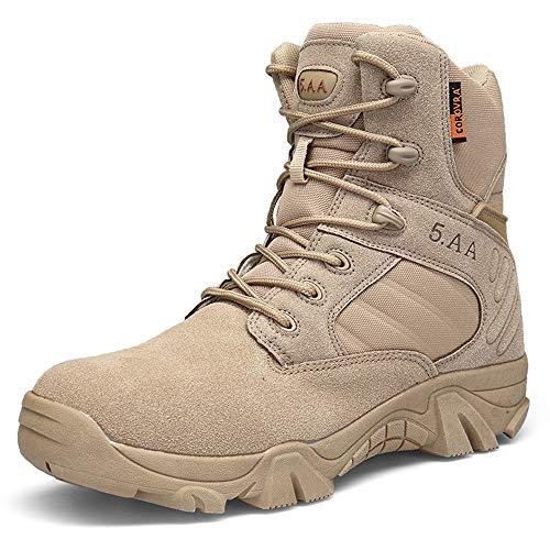 Bititger - Botas de desierto militares de piel, impermeables, con cremallera, botas tácticas y de combate para hombre, para patrullas, de seguridad, para policías, color Beige, talla 40 2/3 EU
