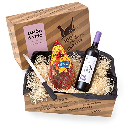 """Delikatessen-Präsentkorb \""""Jamón y Vino\"""" mit Serrano-Schinken & Rotwein aus Spanien - Verpackt in der spanischen Geschenk-Box inklusive Schinkenmesser"""