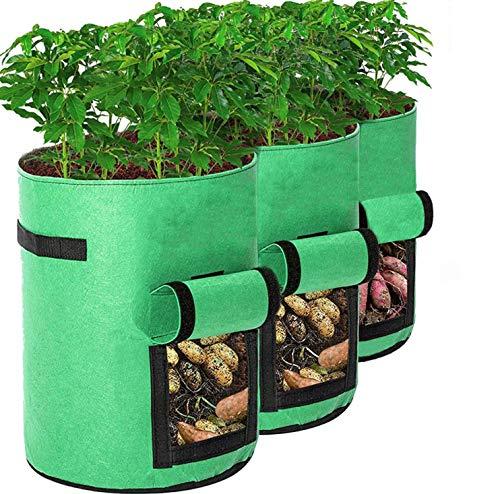 Bolsas de Cultivo de Plantas, BRIGHT ACE Paquete de 3 Bolsas de Cultivo de Vegetales de 7 galones, Transpirables para el hogar Bolsas para sembradoras de Patatas, Tomates y Zanahorias (Verde)