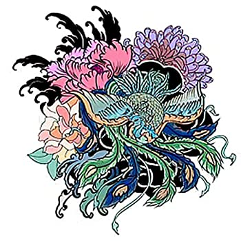 6 Sheets Temporary Tattoos Traditional Japanese Peacock Tattoo Peacock Peony Chrysanthemum Flower an Temporary tattoo Neck Arm Chest for Women Men Adults 3.7 X 3.7 Inch Peony Tattoo