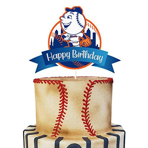 Glitter Baseball Happy Birthday Cake Topper, NY Mets Cake Decor, Baseball Themed Party Supplies, Kids Baseball Sport Fans Bday Party Favor
