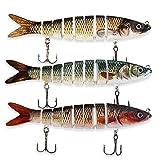 ods lure Cebo de Pesca para Bass 8 Segmento Multi Swimbaits Kit de señuelo de hundimiento Lento con anzuelos de Pesca (D8J08-450-625-389)