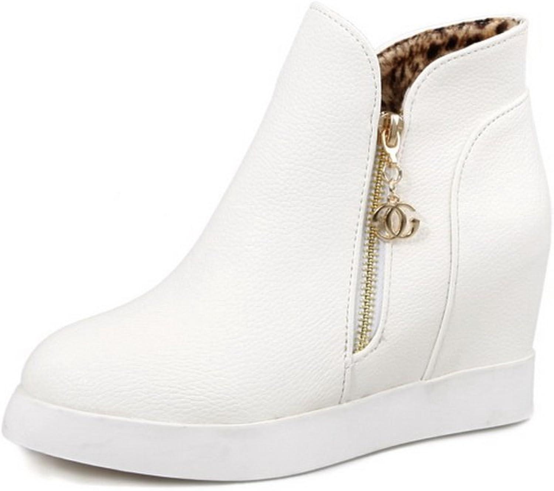 BalaMasa Ladies Metalornament Heighten Inside Zipper White Imitated Leather Boots