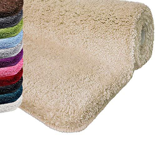 casa pura Tapis de Bain Grande Taille Qualité Premium Oeko Tex   Epais, Moelleux, Absorbant   Lavable en Machine   Plusieurs Tailles et Couleurs   Beige - 70x120cm