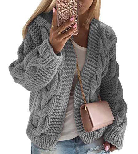 Onsoyours Gilet Cardigan Femmes Veste en Tricot Chaud Hiver Pull Tricoté Casual Grosse Maille Pull Outwear Blouson Chandail Sweater Top Manteau Gris M