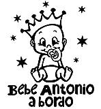 Pegatina Vinilo Bebe a Bordo + Nombre para Coche, Varios Tamaños (Blanco, 10x10cm)