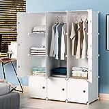 KOUSI Portable Wardrobe Closets 14'x18' Depth Cube Storage, Bedroom Armoire, Storage Organizer with Doors, 6 Cubes 2 Hangers