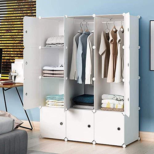 KOUSI Portable Wardrobe Closets 14'x18' Depth Cube Storage, Bedroom Armoire, Storage Organizer with Doors, 6 Cubes + 2 Hangers, White