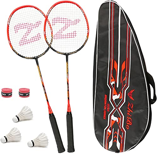 Philonext Lot DE 2 Raquettes de Badminton, Raquette de Badminton Légère en Alliage de Carbone, 2 Raquettes de Badminton avec 2 Raquettes/1 Sac de Transport (Red)