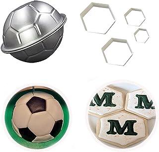 3D Soccer Ball Pan,LQQDD Football Shape Cake Pan and The Easiest Soccer Cookie Ever Cutter Set,Football Cutter Cake Mold f...