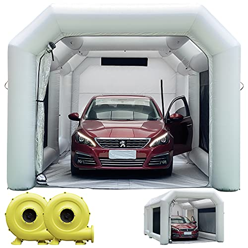 WARSUN 20x11.5x9Ft Inflatable Paint Booth with Larger Air Filter System Professional Inflatable Spray Booth with 2 Blowers(580W+450W) Portable Car Painting Booth Tent for Car Garage
