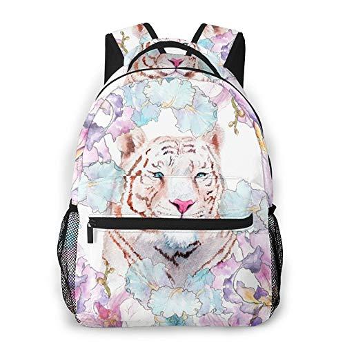 CVSANALA Multifuncional Casual Mochila,Pintura a la acuarela de un tigre blanco en el bosquejo de flores,Paquete de Hombro Doble Bolsa de Deporte de Viaje Computadoras Portátiles