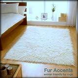 Soft Faux Fur - Sheepskin Area Rug - 5'x6' White Shag Rectangle Shag- Designer Throw - Bonded Ultra Suede Lining (5'x6', White)
