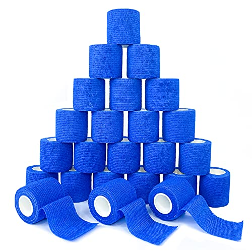 [24Pack 2'x5 Yards] Blue-Self Adhesive Bandages Pre Wrap, Athletic Elastic Cohesive Bandage for Sports, Injuries, Treatments, and Recovery, First Aid Tape Vet Wrap for Cat, Dog (24pack, Blue)