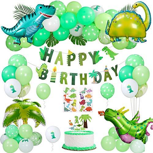 Gafild Geburtstagsdeko Jungen Dinosaurier Set, Kindergeburtstag Deko Folienballon Dinosaurier Partyzubehör Kit ,Happy Birthday Banner für Kindergarten Dekoration Urwald Party Geburtstag Junge