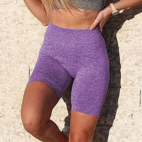 Mallas Push up Mujer,Pantalones de Yoga sin Costuras, Pantalones Cortos de Cintura Alta de Cadera Fitness-Violeta_L,Deporte Correr Yoga Pantalón de Sudoración Adelgazantes