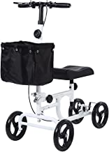 BEYOUR WALKER Folding Knee Walker for Foot Injuries with Dual Braking System Crutches Alternative White