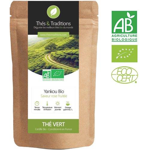 Thés & Traditions - Verde orgánico rosa de té con sabor a fruta - Yankou   100g