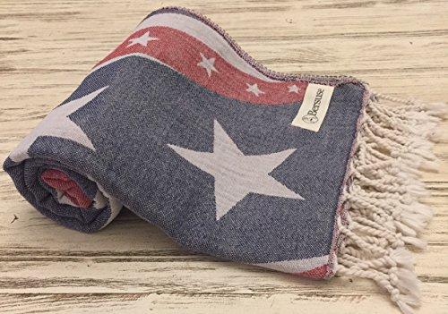 Bersuse 100% Algodón - American Flag Toalla Turca - Fouta Toalla de Playa y Toalla de Baño - Oeko-Tex - 95 x 175 cm