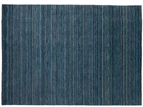 Handloom Handgewebt 240x170 Teppich Gabbeh Einfarbig Argentina Wolle Blau Neu