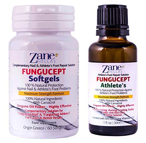 Zane Hellas FunguCept Advance.Solución de Reparación del Atleta.Alivia la picazón,el ardor,las grietas y las escamas.Detener el mal olor. esultados visibles en 5 días. 1 fl. oz - 30 ml y 60 cápsulas