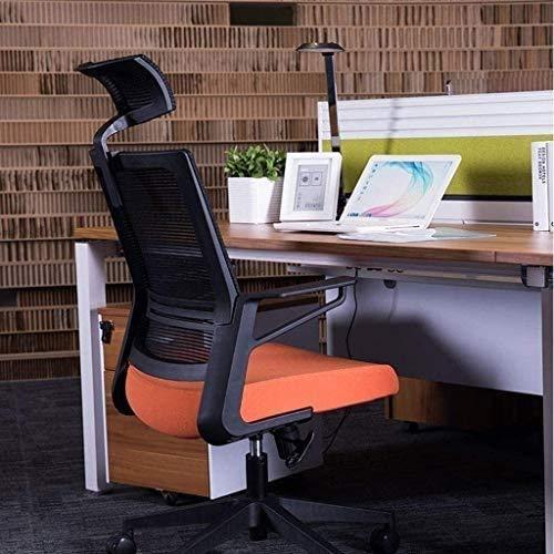 Elegante silla oficina, silla giratoria Sillas de escritorio para oficina | Silla de oficina con soporte lumbar y reposacabezas ancho | Silla de escritorio de malla de alta respaldo con tensión de inc