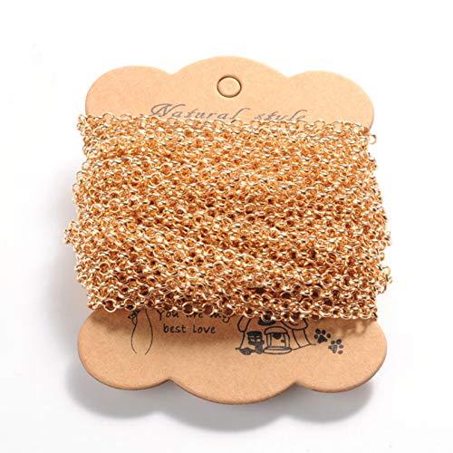 PandaHall - Cadena de hierro de 10 metros, 4 mm, oro soldado con autógena para manualidades, pulseras, collares y joyas