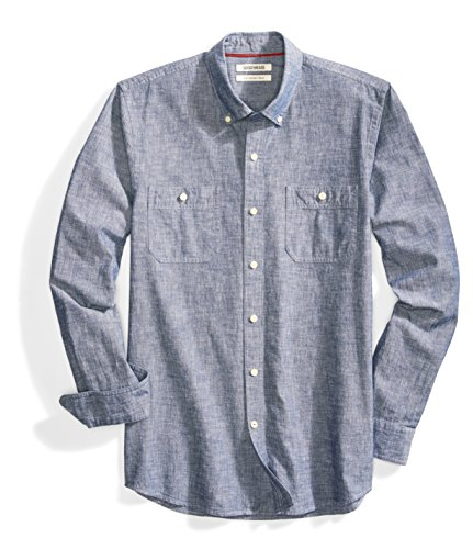 Amazon Brand - Goodthreads Men's Slim-Fit Long-Sleeve Chambray Shirt, Navy, Medium