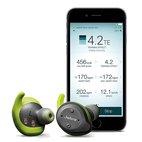Jabra Elite Sport True Wireless Waterproof Fitness & Running Earbuds with Heart Rate and Activity Tracker - Advanced wireless connectivity and charging case - 4.5 Hour (Lime Green / Gray)