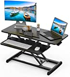 Standing Desk Converter Adjustable Height Desk Riser, 32 inch Sit Stand Desk Dual Monitor and Laptop Workstation, Ergonomic Desk Tabletop Computer Workstation, Home Office Desk with Keyboard Tray