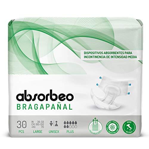 Bragapañal Plus - Dispositivos Absorbentes para Incontinencia de Intensidad Media, Unisex, Talla L (30 piezas por paquete)