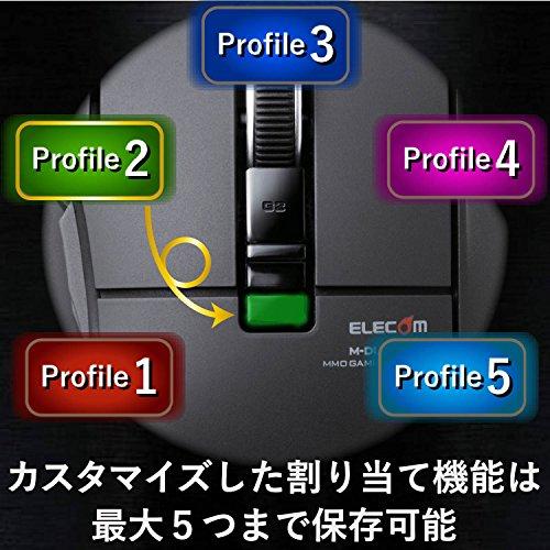 エレコムゲーミングマウス【DUX】有線10ボタン2400dpiハードウェアマクロ対応M-DUX30BK