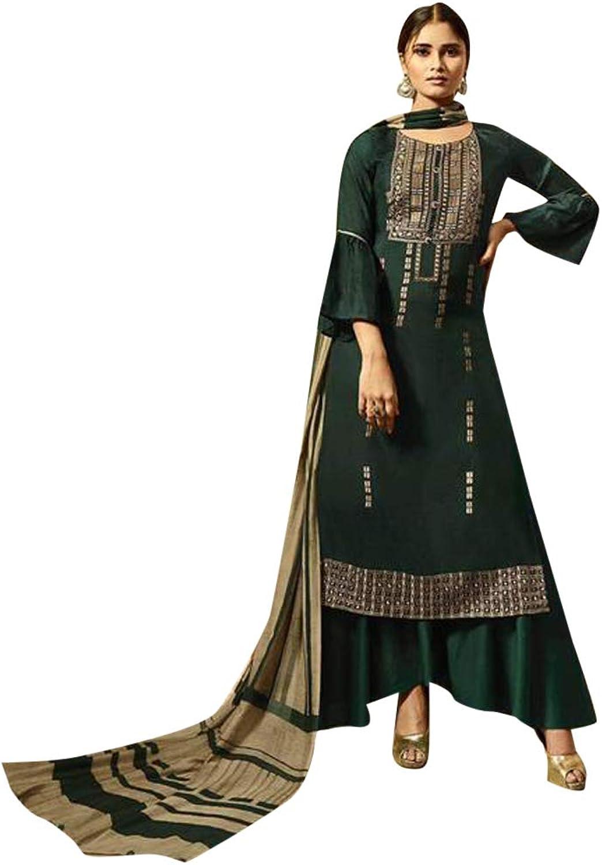 Green Designer Satin Embroidered Palazzo Salwar suit for Women Indian Printed Dupatta Muslim Evening wear 7528